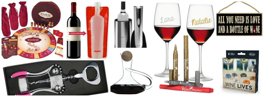 Collage image showing gift ideas for wine lovers