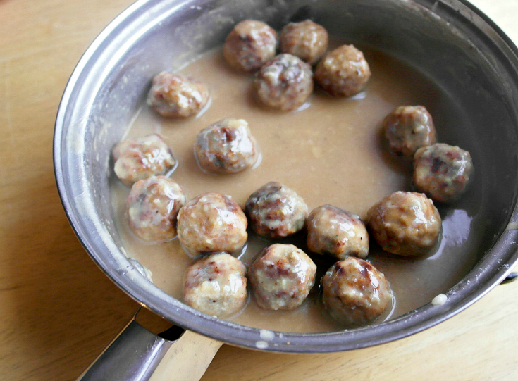 meatballs in a pan with sauce