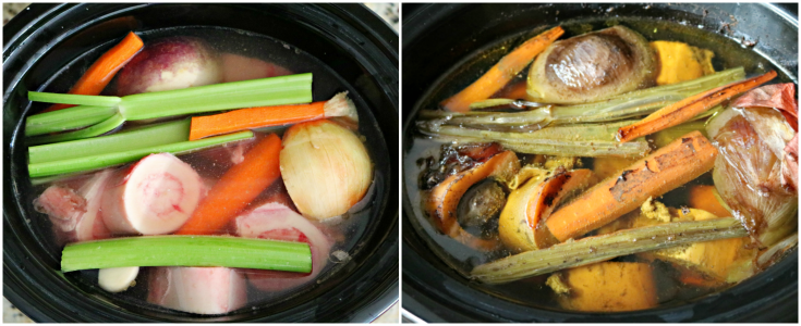 Slow Cooker Bone Broth - Vegetables and bone in a crockpot with water and seasonings
