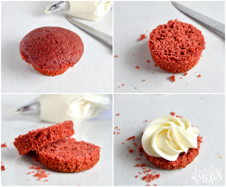 Easy Mini Red Velvet Cakes - Step 1-4