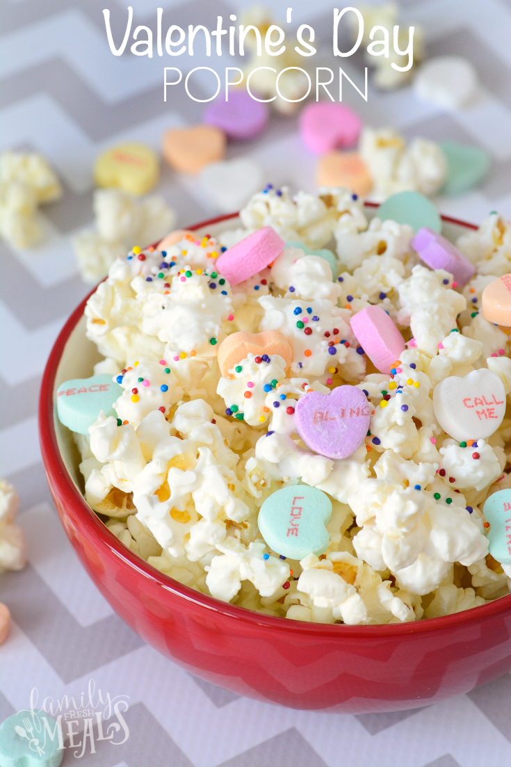 Valentine's Day Popcorn Treat in a red bowl