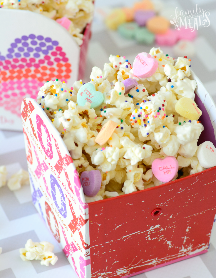 Valentine's Day Popcorn  in a small decorative box