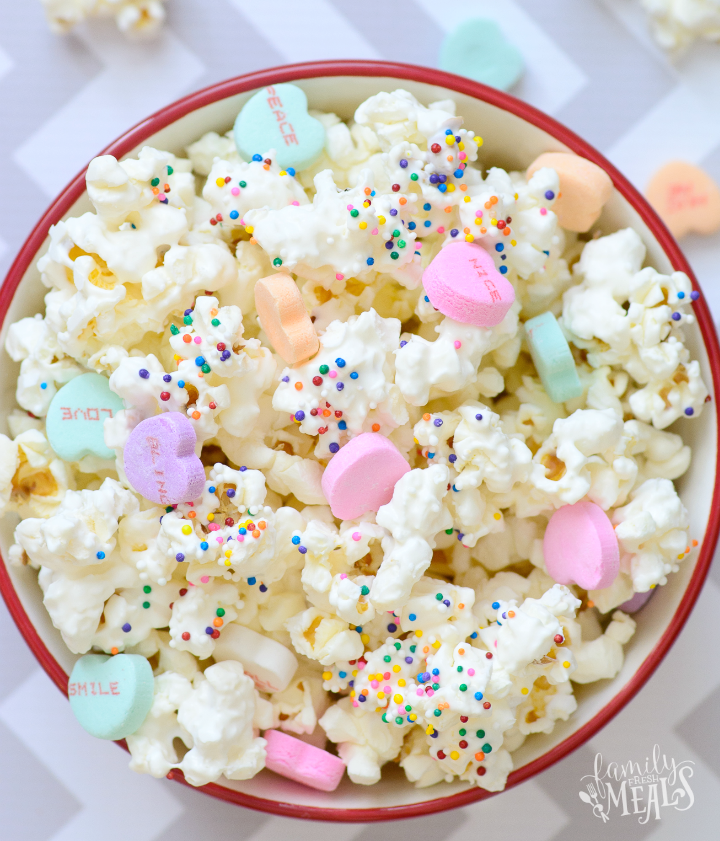 Valentine's Day Popcorn Treat in a small bowl
