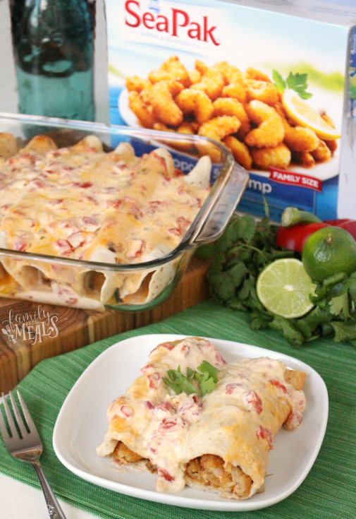 Creamy Shrimp Enchiladas - Yummy recipe from familyfreshmeals.com