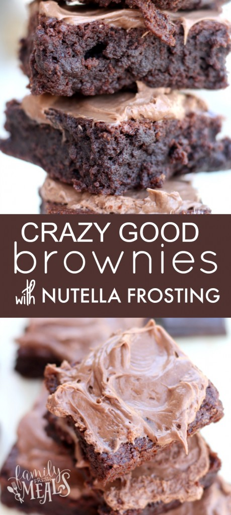 If you love Nutella, you are gonna go gaga for theseHomemade Chocolate Fudge Brownies with Nutella Frosting recipe. This will be your new favorite brownie! via @familyfresh