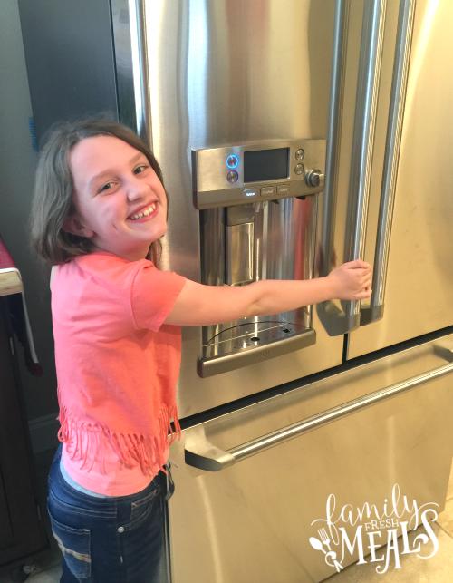 HHGregg GE Café refrigerator with a Keurig Brewing System - FamilyFreshMeals.com - the family loves it!
