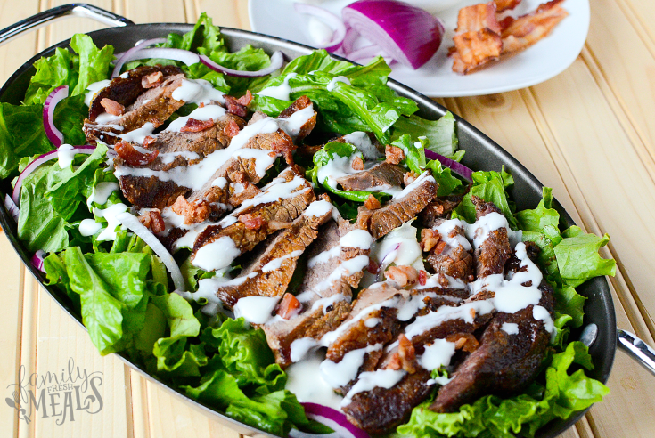 Mustard Glazed Grilled Steak and Salad - Yummy Dinner Idea! FamilyFreshMeals.com