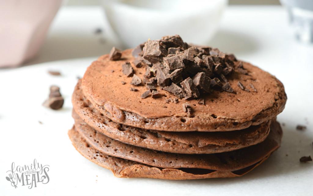 Double Chocolate Chunk Pancakes - Yum - FamilyFreshMeals.com