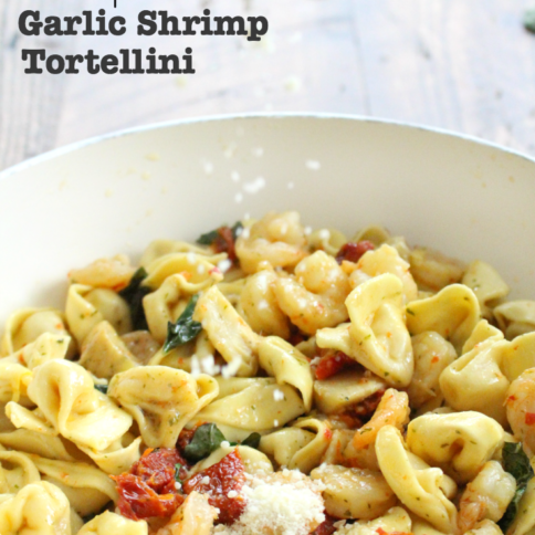 Easy One Pot Garlic Shrimp Tortellini - FamilyFreshMeals.com