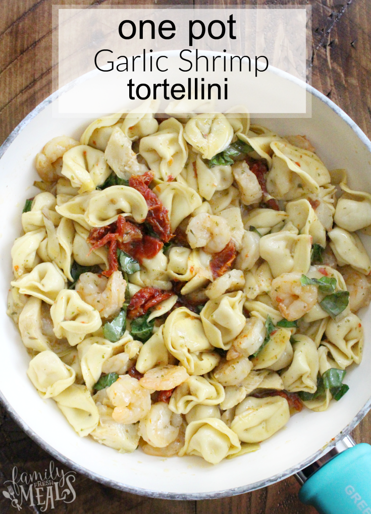One Pot Garlic Shrimp Tortellini - YUM! - FamilyFreshMeals.com