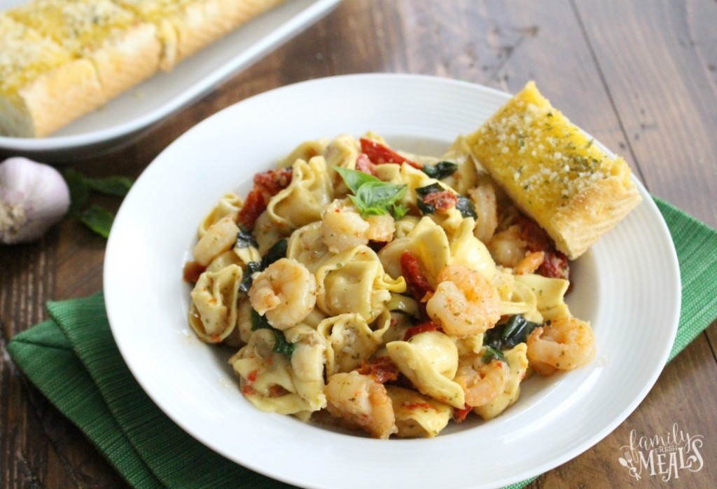 One Pot Garlic Shrimp Tortellini - enjoy!