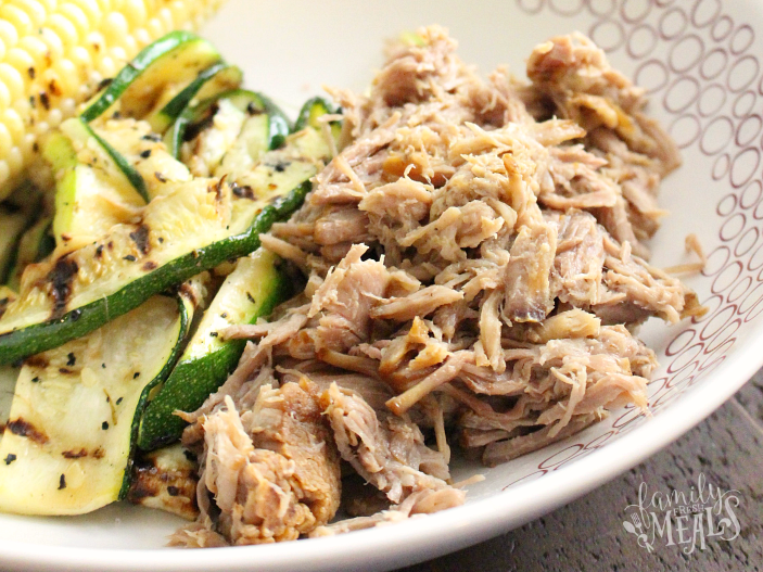 Easy Family Meal! Crockpot Kalua Pork served in a white bowl- Freestyle Weight Watchers Crockpot Recipes