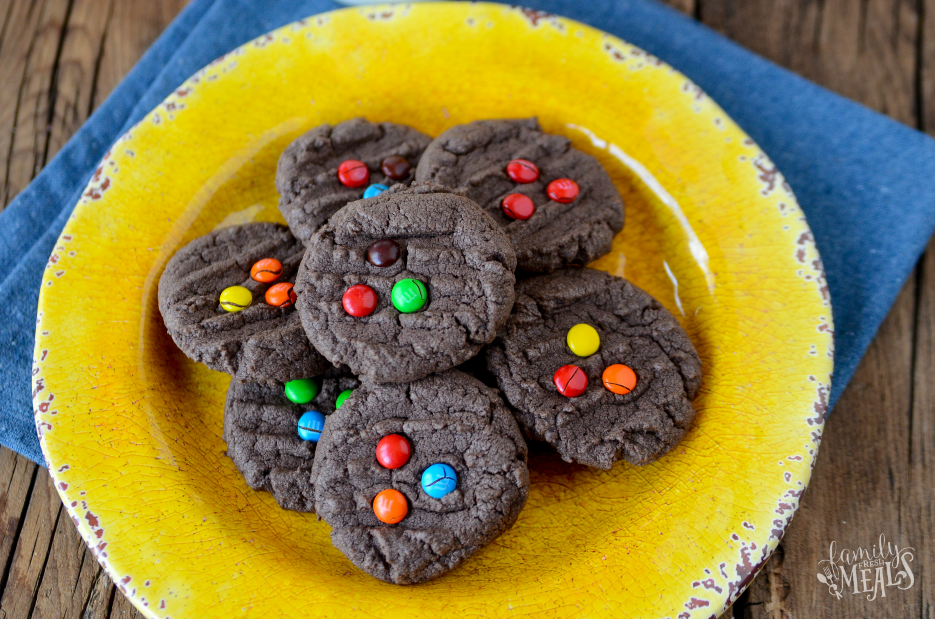 M&M Chocolate Cake Mix Cookies - FamilyFreshMeals.com-