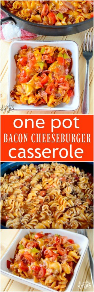 One Pot Bacon Cheeseburger Casserole - Easy family favorite meal - FamilyFreshMeals.com