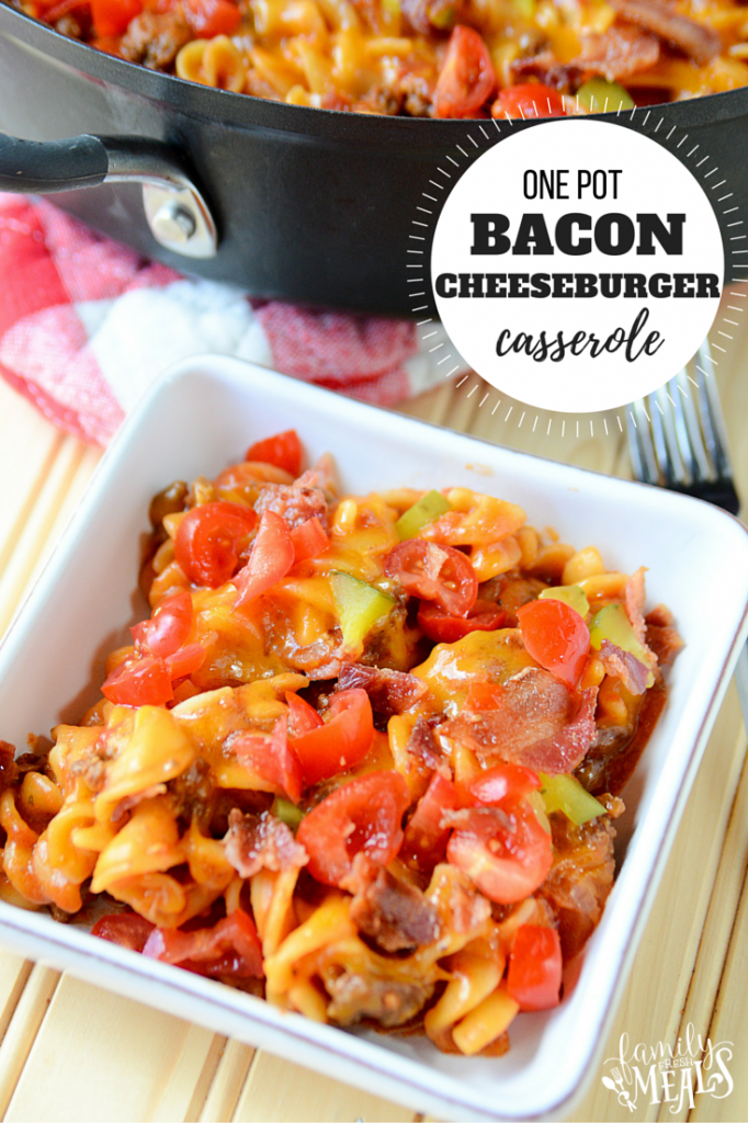 One Pot Bacon Cheeseburger Casserole - FamilyFreshMeals.com - Family Favorite recipe!