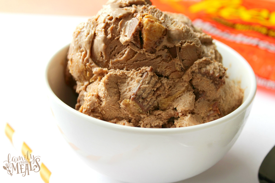 Easy No Churn Peanut Butter Cup Ice Cream - FamilyFreshMeals.com - Easy Icecream Recipe