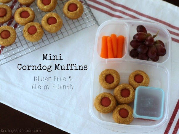 gluten egg dairy nut allergy free mini corn dog muffins school lunch easy quick simple make ahead freezer friendly