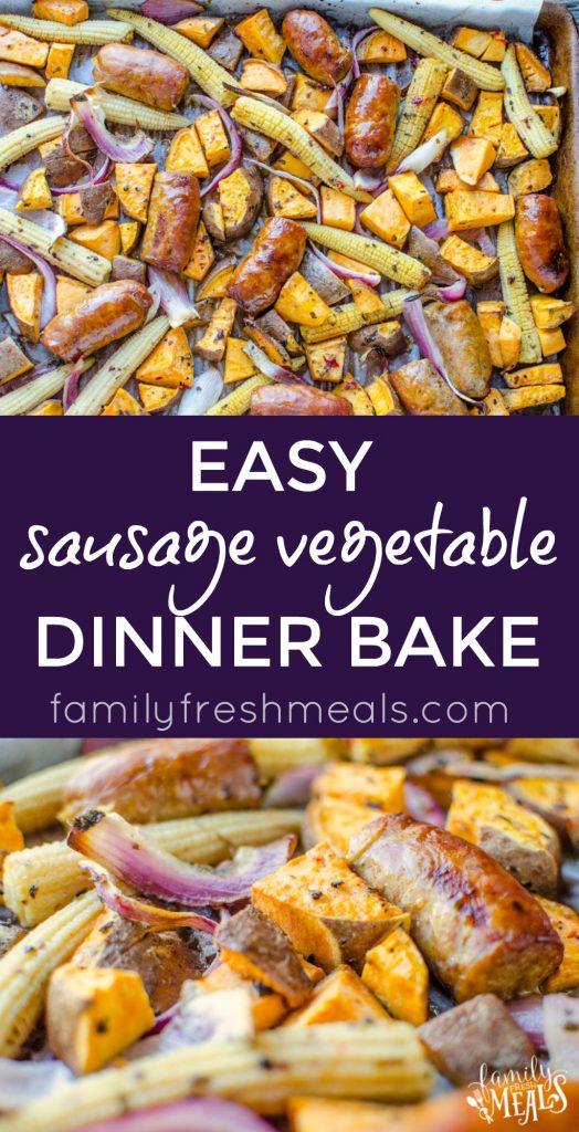Easy Sausage Vegetable Bake - Love these Fall Dinner recipe - FamilyFreshMeals.com