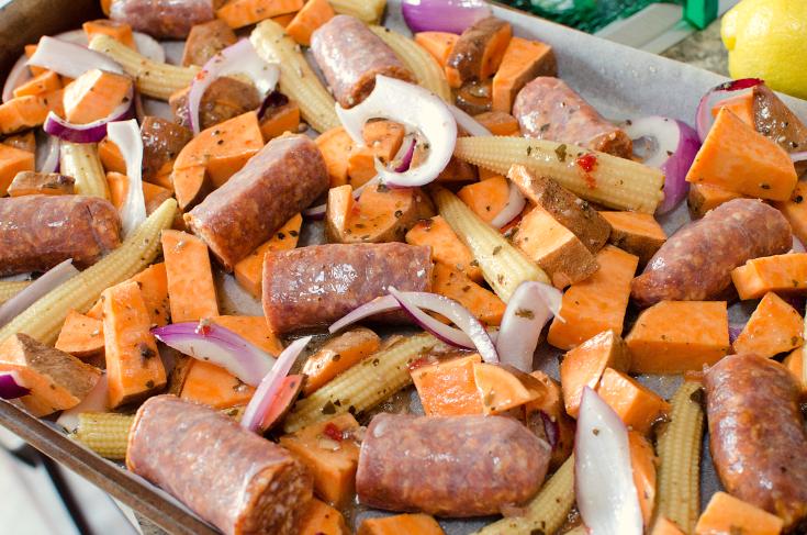 Easy Sausage Vegetable Bake - Sausage and vegetables on a sheet pan