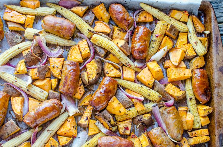 Easy Sausage Vegetable Bake - Sheet pan dinner - Family Fresh Meals
