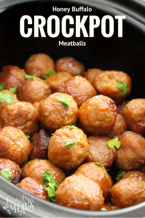 Honey Buffalo Crockpot Meatballs -- FamilyFreshMeals.com -