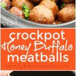 Honey Buffalo Crockpot Meatballs -Love this appetizer recipe- FamilyFreshMeals.com - Love this appetizers