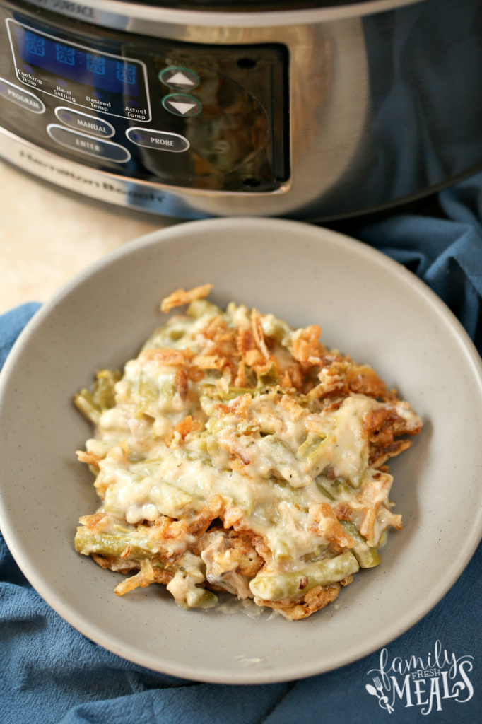 Crockpot Easy Green Bean Casserole served in a grey bowl