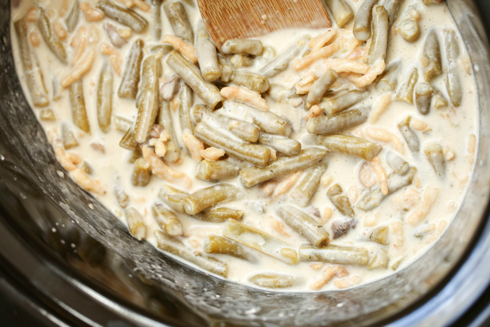 Crockpot Green Bean Casserole - green beans and french onions stirred into crockpot