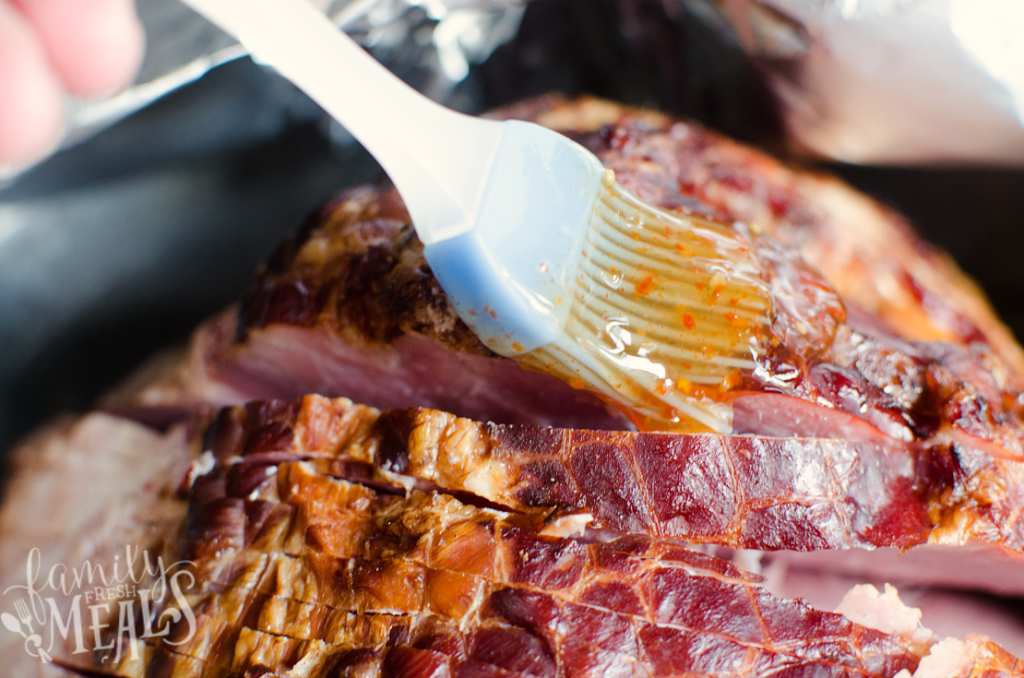 Sweet Chili Glaze Ham - Brush ham with glaze