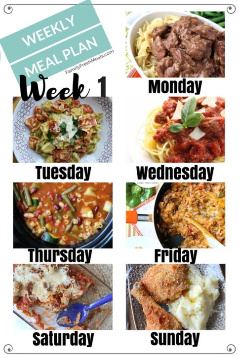 Easy Weekly Meal Plan - Week 1 - FamilyFreshMeals.com