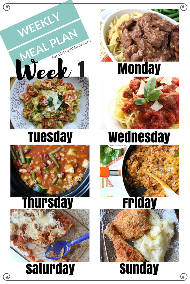 Easy Weekly Meal Plan Week 1 Family Fresh Meals