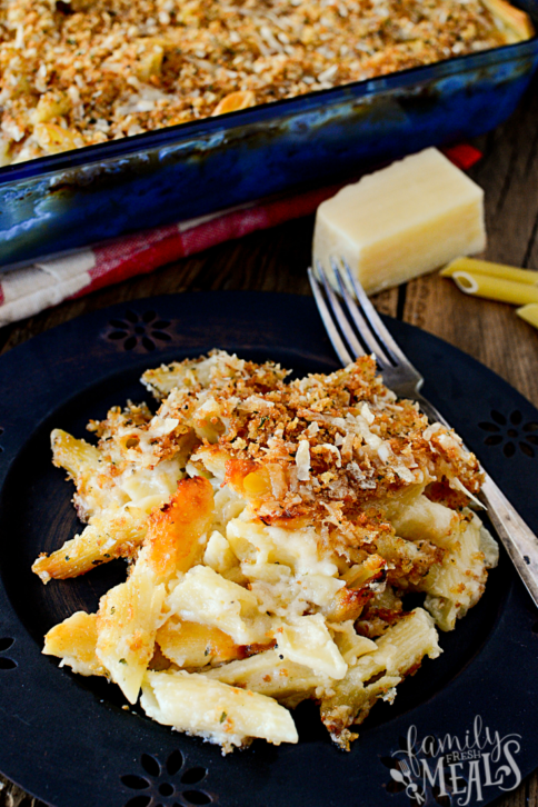Four Cheese Baked Macaroni and Cheese - Familyfreshmeals.com