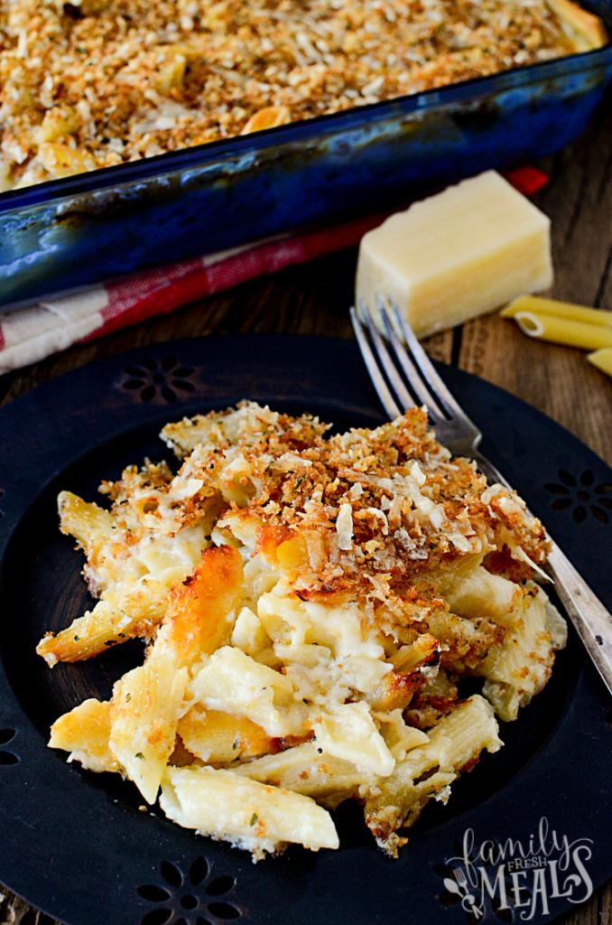 Four Cheese Baked Macaroni and Cheese - Familyfreshmeals.com