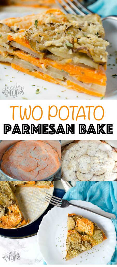 My Two Potato Parmesan Bake is the perfect side dish combo. I has both white potatoes and sweet potatoes, sliced thin and layered in a pan like a lasagna. via @familyfresh