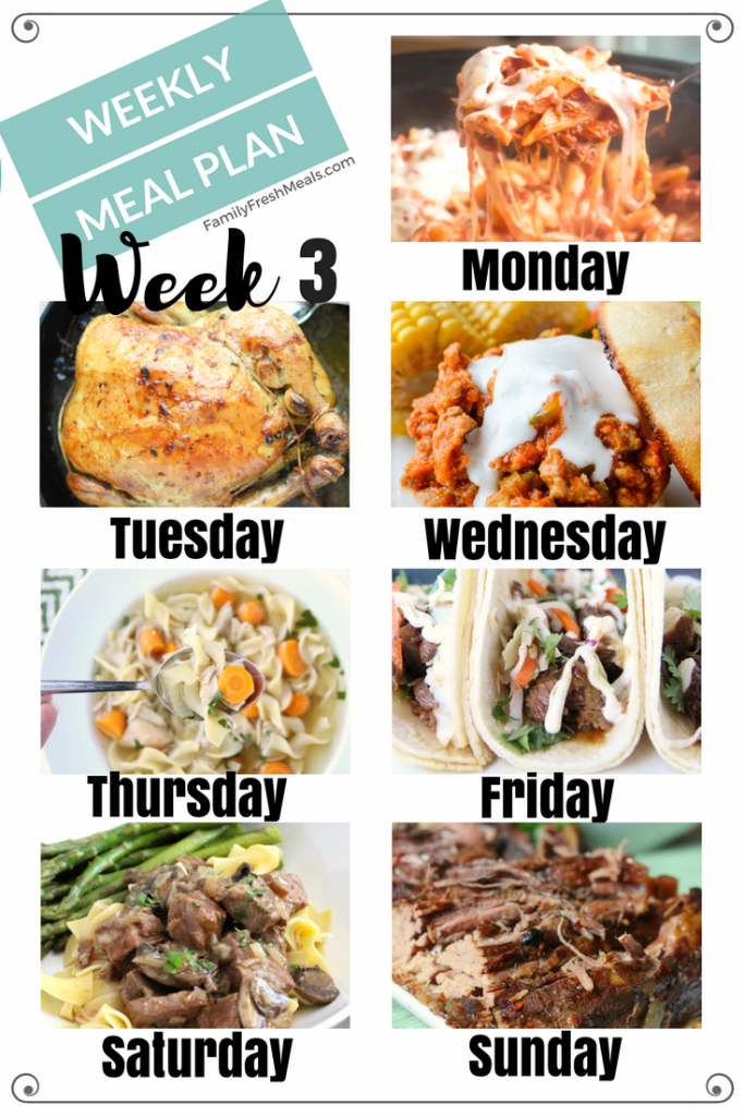 Easy Weekly Meal Plan - Week 3 - FamilyFreshMeals.com
