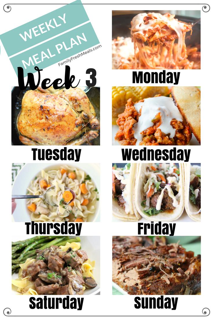 Easy Weekly Meal Plan Week 3 Family Fresh Meals