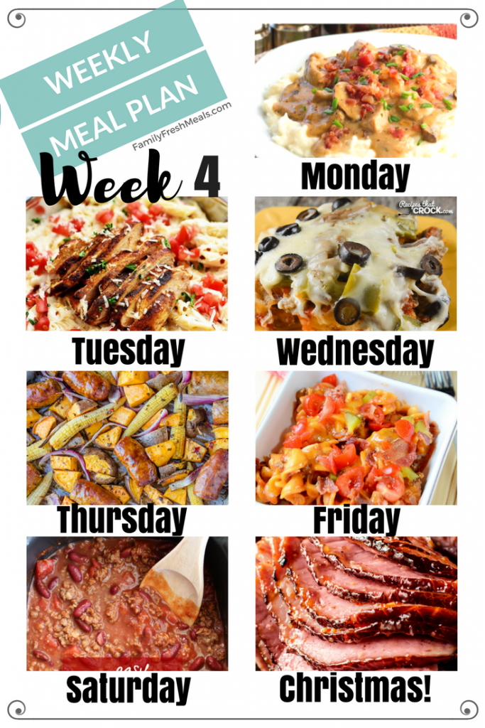 Easy Weekly Meal Plan - Week 4 - FamilyFreshMeals.com