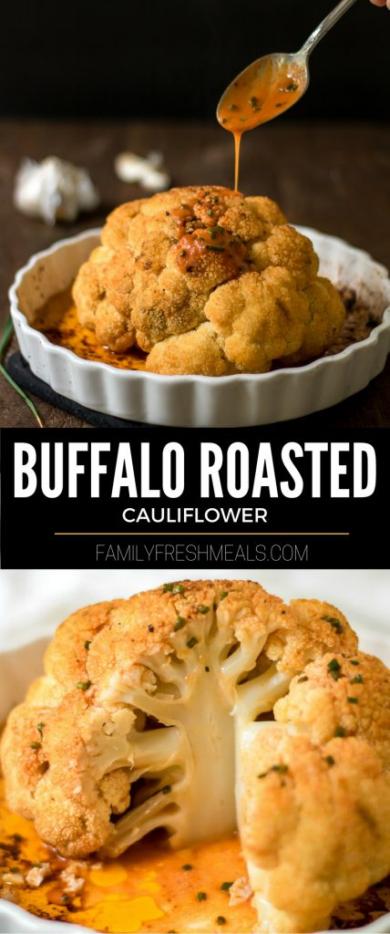buffalo roasted cauliflower - familyfreshmeals.com