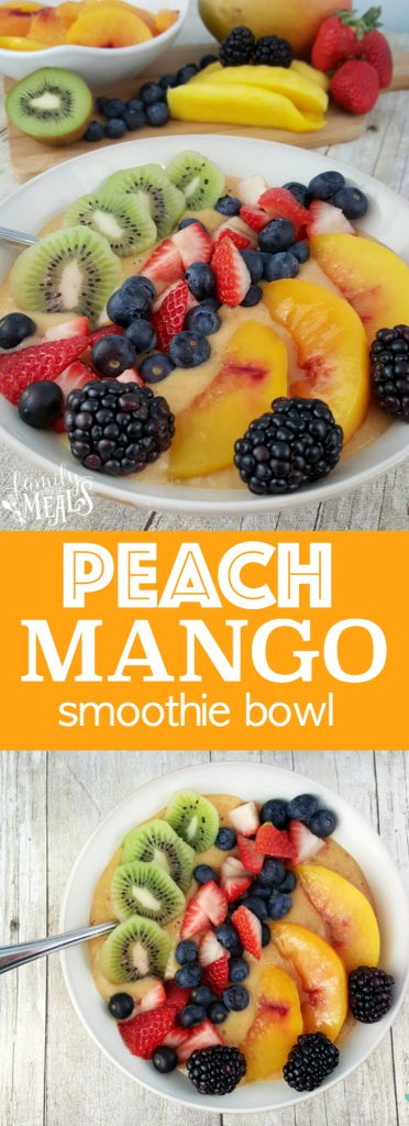 Peach Mango Smoothie Bowl - familyfreshmeals.com