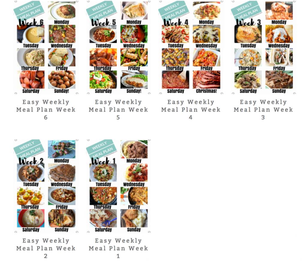 Easy Weekly Meal Plan Week 6