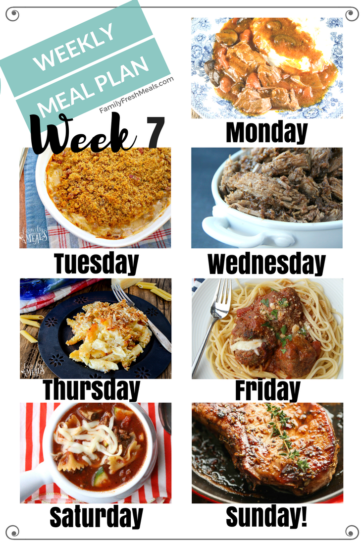 Easy Weekly Meal Plan Week 7 Family Fresh Meals