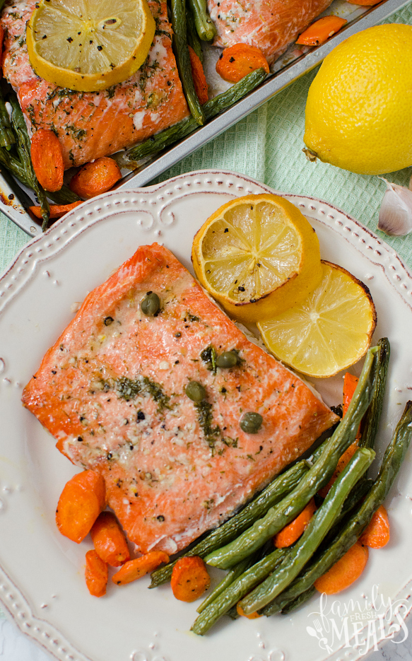 Salmon Sheet Pan Dinner - served on a white plate