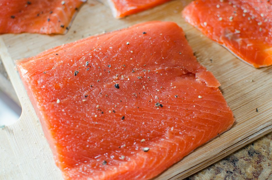 Salmon Sheet Pan Dinner - Fresh salmon on a cutting board