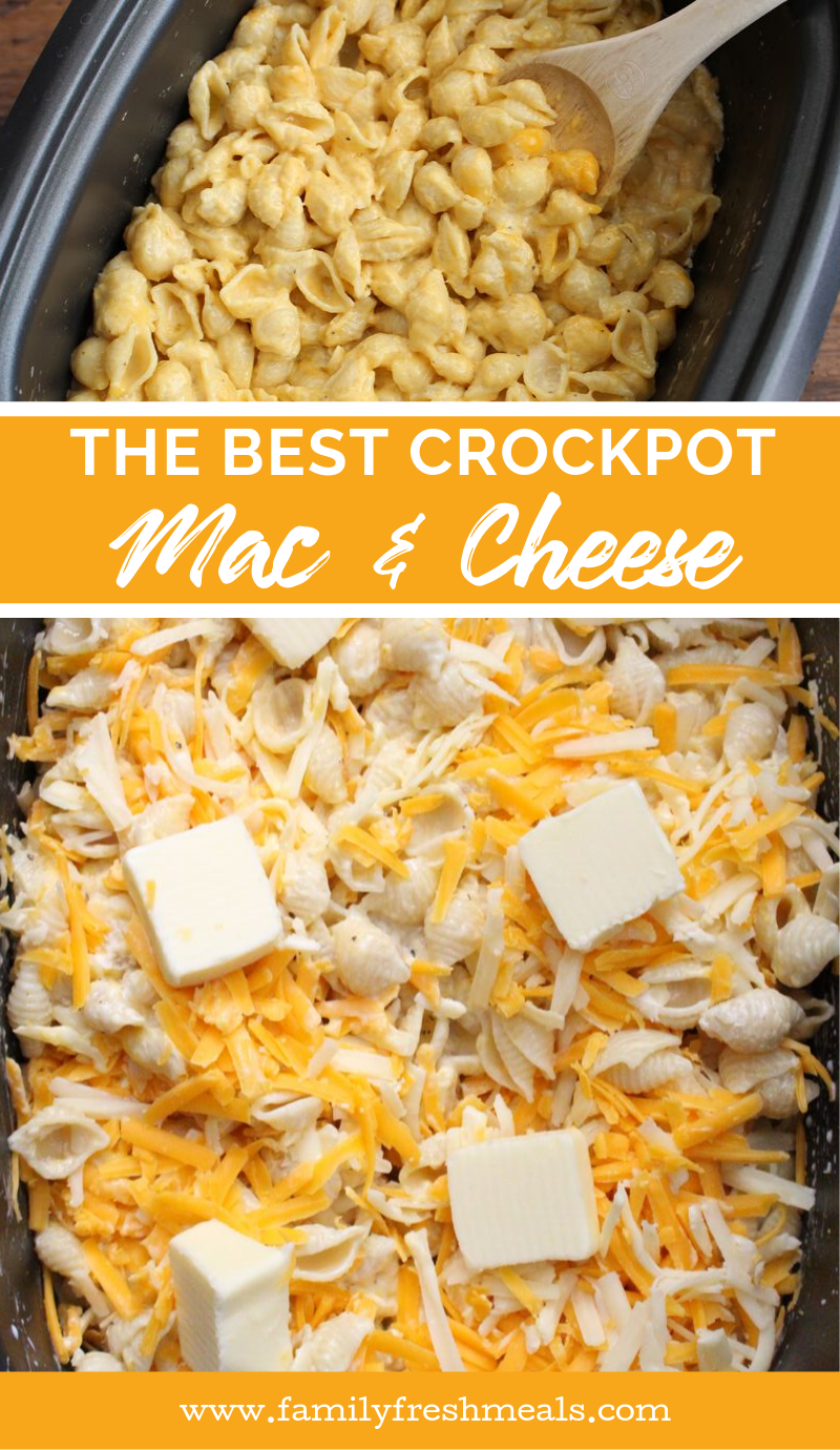 The Best Creamy Crockpot Mac and Cheese recipe from Family Fresh Meals #slowcooker #crockpot #macandcheese #pasta #kidapproved #thanksgiving #christmas #holidayrecipe #familyfreshmeals via @familyfresh