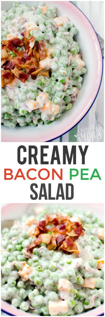 Creamy Bacon Pea Salad Recipe - The best peas salad recipe! Family Fresh Meals - LOVE THIS REICPE