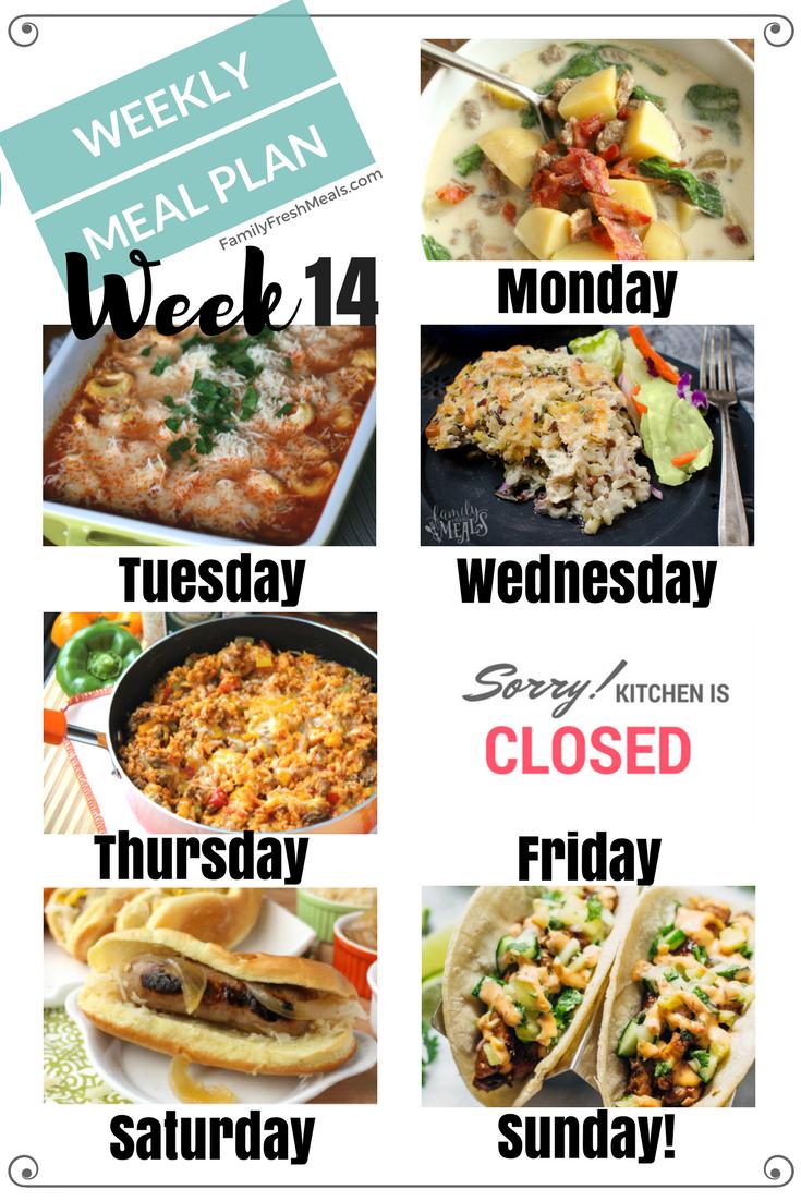 Easy Weekly Meal Plan Week 14 Family Fresh Meals
