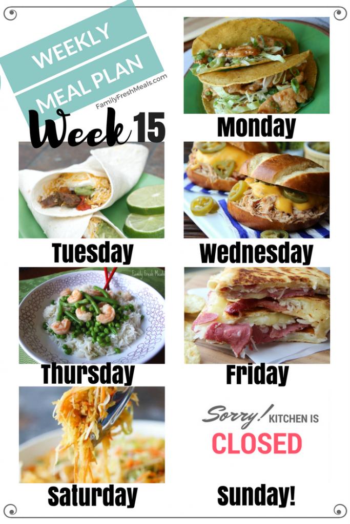 Easy Weekly Meal Plan Week 15