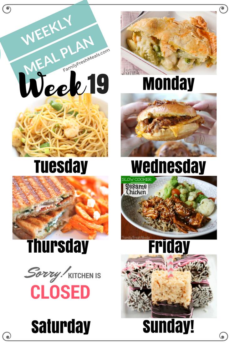Easy Weekly Meal Plan Week 19 Family Fresh Meals