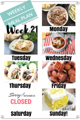 Easy Weekly Meal Plan Week 21