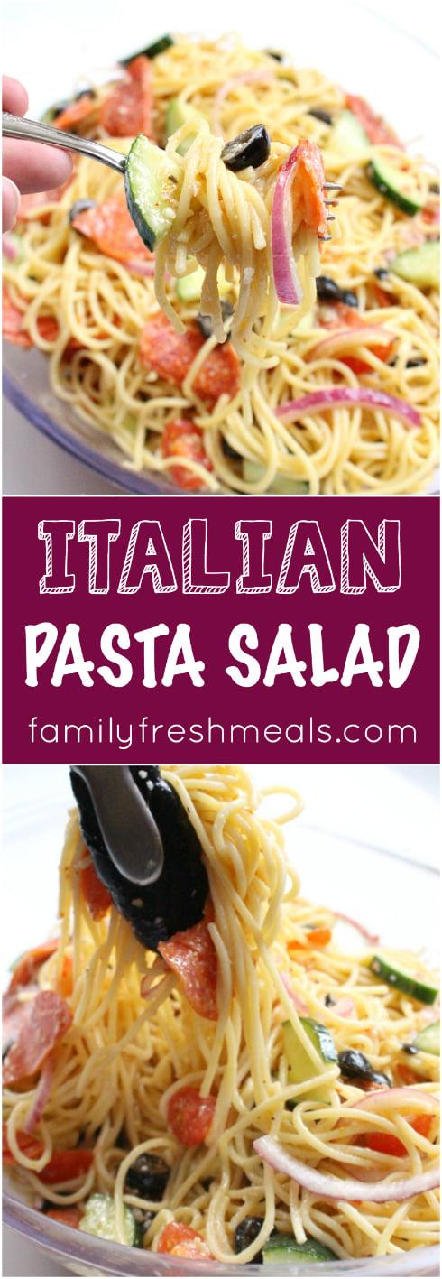 Italian Spaghetti Pasta Salad #pastasalad #homemade #italian #italianpastasalad #spaghettipastasalad #familyfreshmeals via @familyfresh